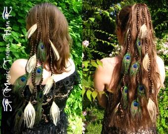 PEACOCK HAIR PIECE 2 peacock feather clip hair extension Fantasy fairy elf hair falls Wedding hair jewelry Custom Color Steampunk hair piece