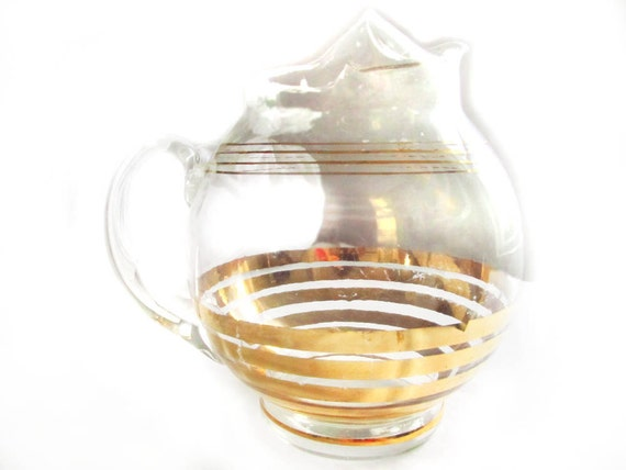 Glass Ball Pitcher Gold Stripes Mid Century Barware Mixed Drinks Cocktail Pitcher Round Clear Glass Gold Bands 1950 Bar Ware Pitcher Ice Lip