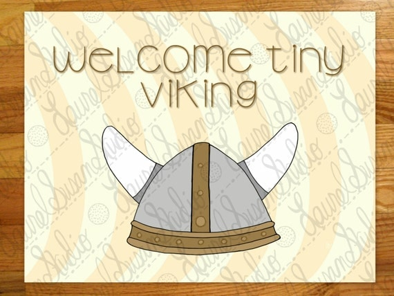 Viking Helmet Nursery Printable Art New Baby Welcome Tiny
