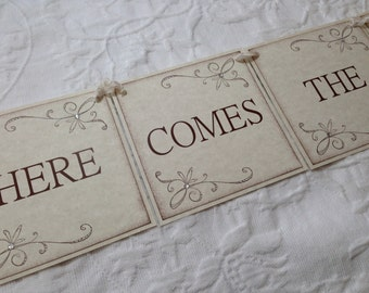 Here Comes The Bride Banner - Bridal Shower Decor - Wedding