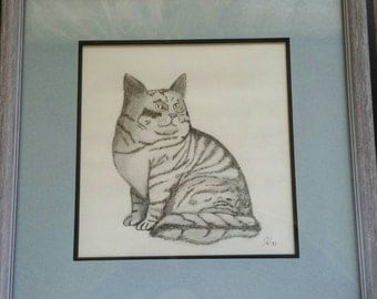 THE CAT tabby original framed art picture