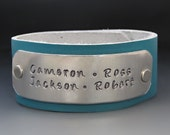 Personalized Leather Cuff - Hand Stamped - Custom made - Your Choice of Colors