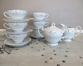 Tea Set Tea Service Cream and Sugar Bowl Set of 6 Teacups Fine China Japan Joanne 7006 Dainty Tea Cup Shabby Chic Tea Set Cottage Chic