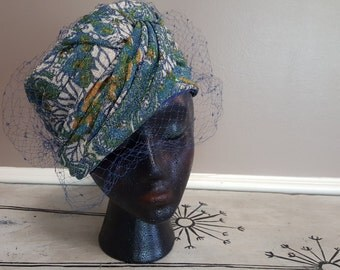 1960s Vintage Beresford Ladies Hat with Veil Veiled Hat Blue Hat Gold Hat Party Hat Womens Hat Something Blue
