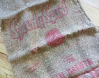 Vintage Burlap Potato Bag  Burlap Potato Rustic Bag Rustic Decor Speedy Spud North Dakota