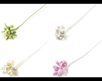 Tiny Flowers Glittered Bouquet with Pearl 60 pcs. 4 colors