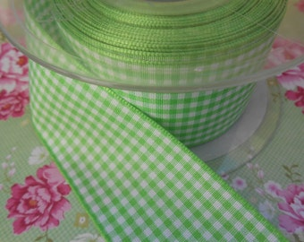 "Ribbon 1 1/2"" width Apple Green Gingham 5Yards"