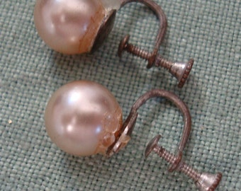 REAL CULTURED PEARLS, 10mm,  from the 1950's, on screwback earrings. Please see description for more details