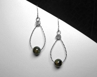 Montana Agate Earrings in Silver, 8 mm