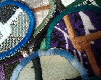 Custom Disco Biscuit embroidered handcrafted circle MINI patch
