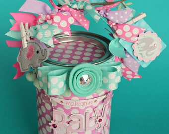Personalized Baby Shower Gift, Container, Baby Girl Gift, Packaging, Altered Paint Can, Baby Shower/Welcome Baby Girl