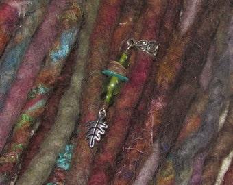 ONE Dreadlock Bead Oak Leaf Bohemian Dreadlock Jewelry Jewellery Dangle Dread Beads Wrap Beads Tribal Hippie Hippy Festival Boho Psy