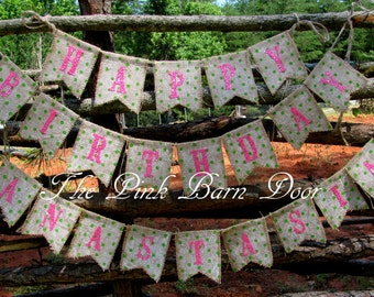 Glitter Happy Birthday with name burlap banner