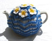 Dizzy Daisies, TEA COSY, cozy, teacosy, teacozy, hand knit, blue and white,  tea party, gift for women, stripes, cornish ware, vintage style