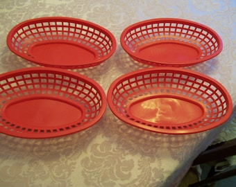 Vintage Snack Baskets Lot of 4 Red Plastic Tablecraft USA Retro 1950s Old Fashioned Serving Baskets of Diners