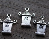24 Silver House Charms 22mm Antiqued Silver