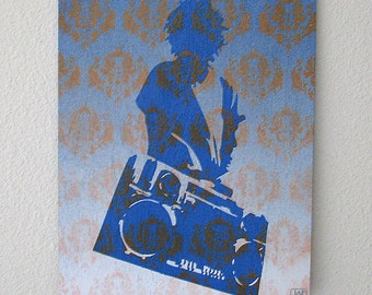 Ghetto Blaster Graphic Multilayer Graffiti Stencil Art on Wood Panel