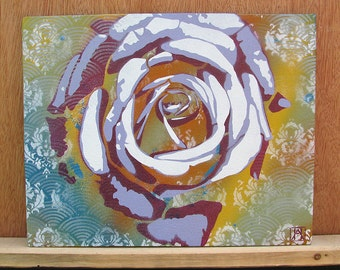 Rose Multilayer Graffiti Stencil Art on Canvas Board 10x8