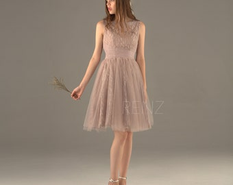 Dusty Rose Bridesmaid Dress,A line Wedding Dress,Bateau Neck Short Formal Dress,Puffy Party Dress,Dusty Rose Prom Dress Knee Length(SS071)
