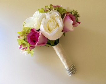Pink, Bush Pink, Ivory, White and Green Bridal Bouquet