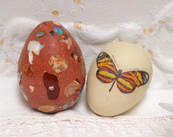 Alabaster Art Egg And Butterfly Egg Set 2