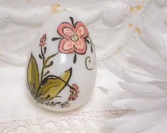 Vintage Glass Blown Easter Egg Hand Painted