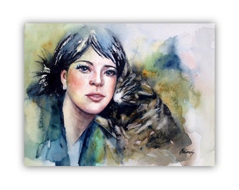 "Kittens - Original watercolor portrait painting -cat, lady portrait - blue,green, grey - 14,6"" x 11"""