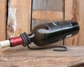 Minimalist Wine Bottle Holder - Blacksmith Hand Forged