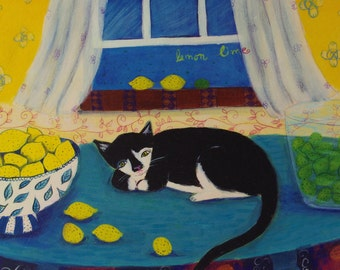 Black And White Cat - Limited Edition Giclee on Paper/ Whimsical Cat art
