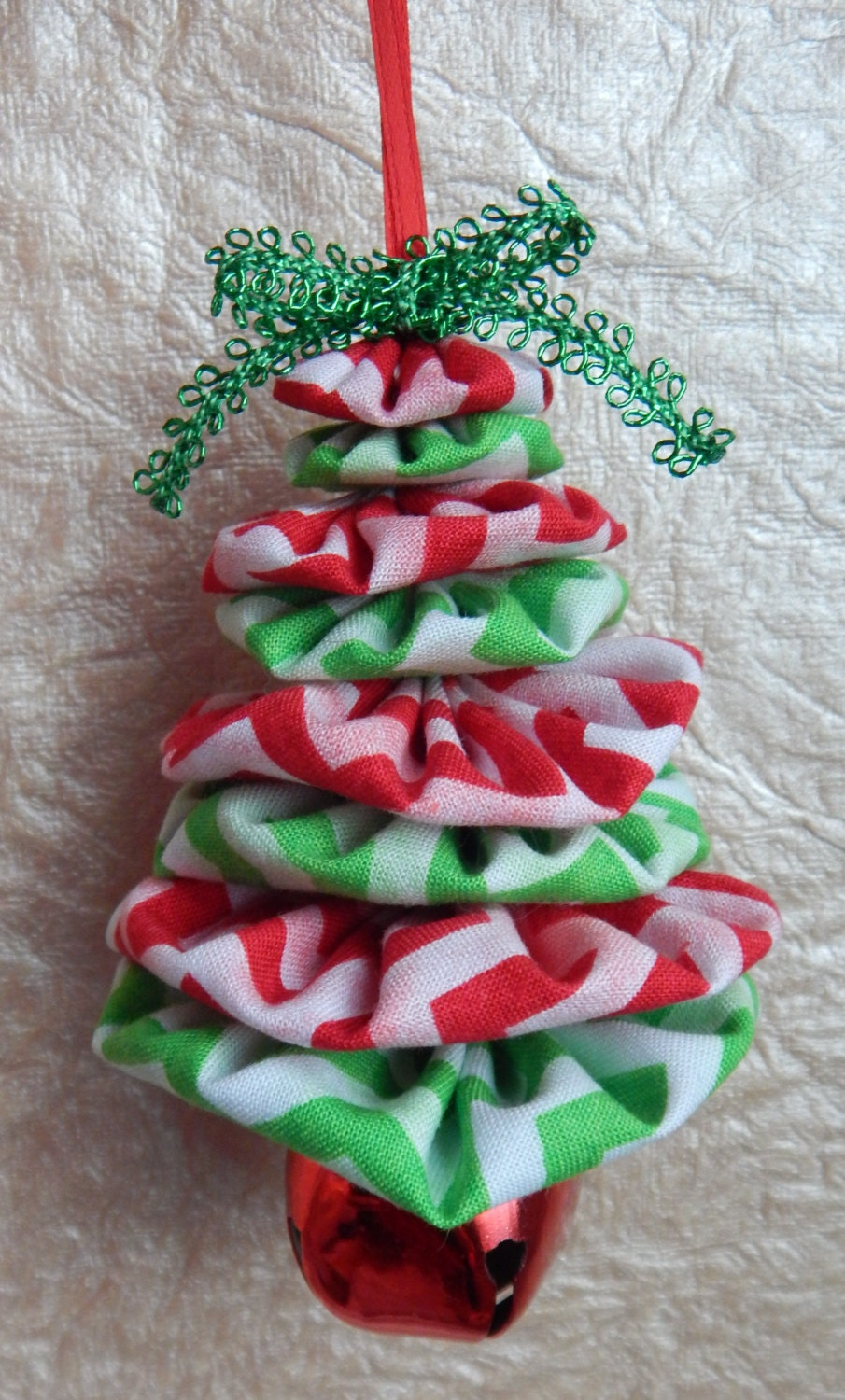 Red green and white chevron christmas tree ornament by for Red green christmas tree