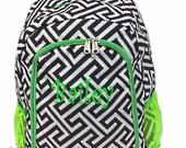 SALE Personalized Greek Key Backpack - Girls Canvas Booksack Black & White with Lime Green Trim Geometric Backpack Monogrammed FREE