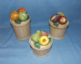 Vintage Ceramic Fruit Canister Set Italy