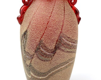 Vintage Spanish 1980's Red Scavo Glass Vase
