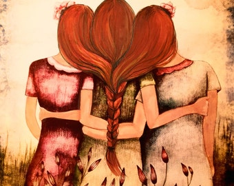 Three sisters best friends with red hair art print