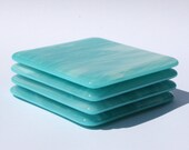 Glass Coasters - Turquoise & Streaky White - Set of 4