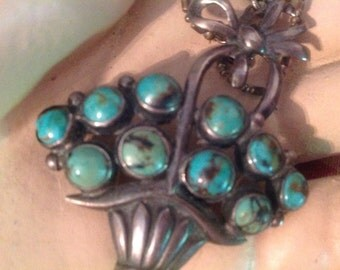 Mexican Turquoise Sterling Basket Phenomenonally Beautiful Brooch Pendant