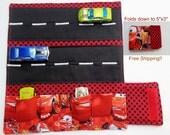 Disney Cars Print Red polkadot Car Wallet/ Car roll up/Toy car holder/ Free Shipping/ Ready to ship.