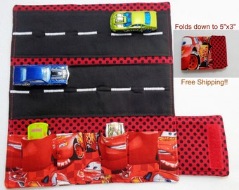 Disney Cars Print Red polkadot Car Wallet/ Car roll up/Toy car holder/ Free Shipping/ Ready to ship.