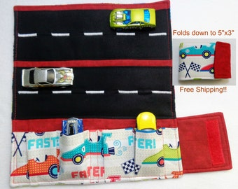 Race Cars from Michael Miller Print fabric Car Wallet/ Car roll up/Toy car holder/ Free Shipping/ Ready to ship.