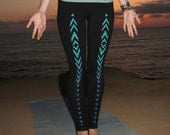 Womens Ombre Yoga LEGGINGS, Tribal Print Turquoise & Teal, Hand Painted, Gifts for Her
