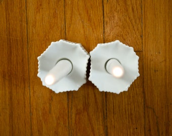 2 Available - Mid Century Matte White Porcelain Candle Holders by Michaela Frey for AK Kaiser West German
