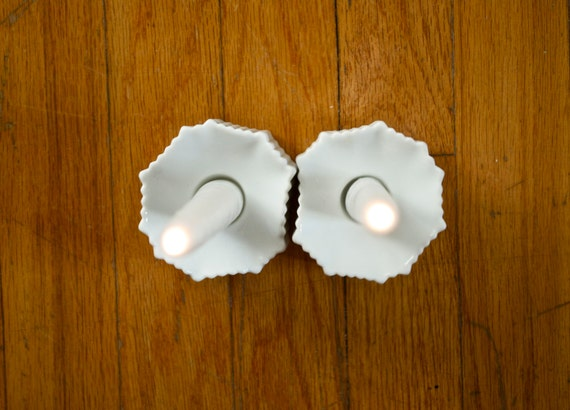 Mid Century Matte White Porcelain Candle Holder Set // Michaela Frey for AK Kaiser West German // Modernist Home Decor