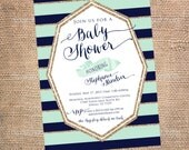 Boys Baby Shower Invitation - Navy and Mint Green Glitter Stripe Baby Shower Invites - Baby Boy Shower