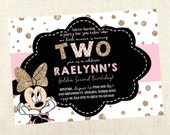 Digital Pink and Gold - Birthday Party Invitations - Minnie Mouse - Birthday Invitations for Kids - Pink and Gold Birthday
