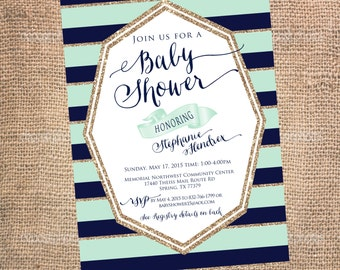 Boys Baby Shower Invitation - Navy and Mint Green Glitter Stripe Baby Shower Invites - Baby Boy Shower
