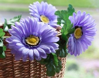Bike basket garland reflective purple daisies Petal Brite
