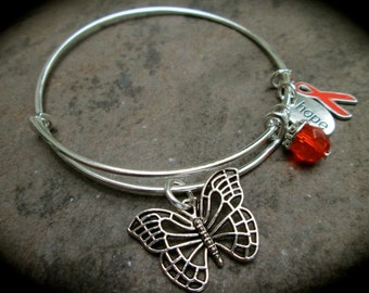 Leukemia or MS Awareness bracelet adjustable wire bangle bracelet with Butterfly Orange dangle Hope and Ribbon charms