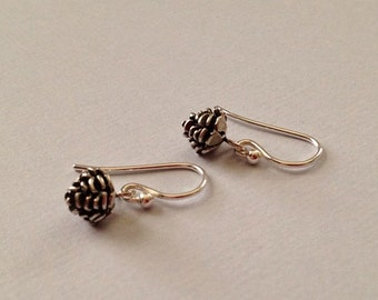 Tiny Pine Cone Earrings in Sterling Silver - Silver Pine Cone Earrings
