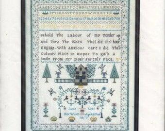 Vintage Counted Cross Stitch Pattern, Jane Self Sampler, Anne Powell Heirloom Stitchery, 1817 Replica Historical Pattern, Cross Stitch Chart