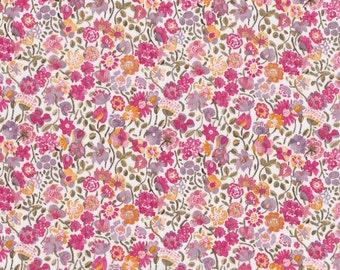 Fat eighth Liberty of London 'Kaylie Sunshine C', pink orange and yellow classic floral Liberty print